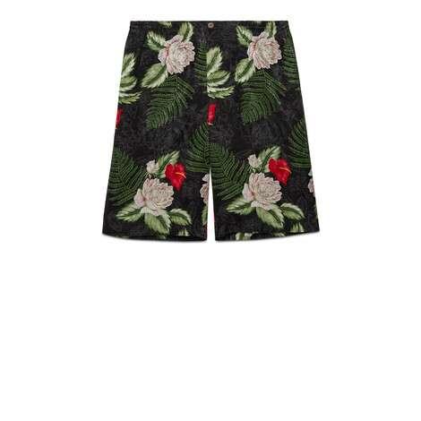 夏威夷风格印花人造丝短裤