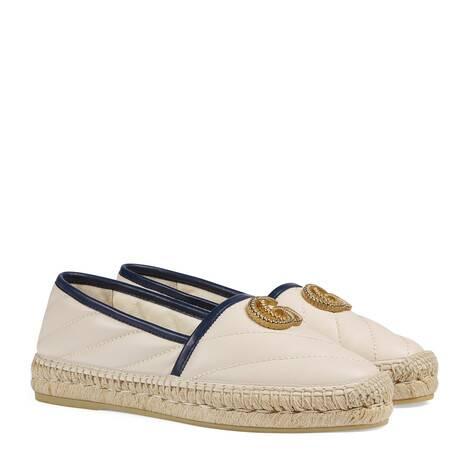 女士绗缝皮革草编鞋