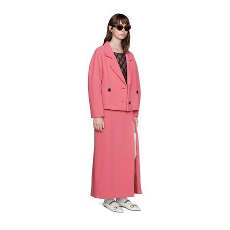 羊毛花呢开衩中长裙