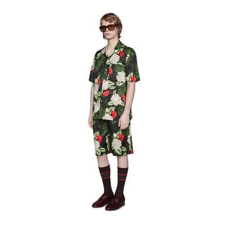 夏威夷风格印花保龄球衫