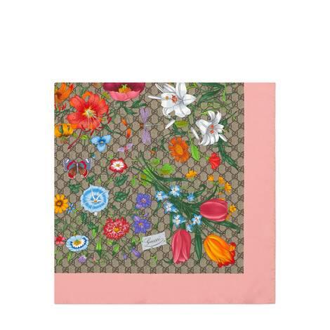 GG花卉印花真丝围巾