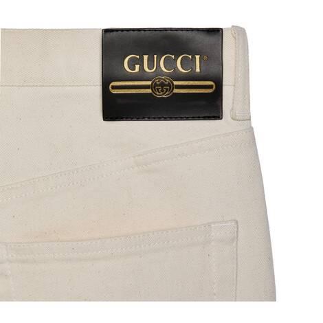 饰Gucci标签水洗棉质长裤