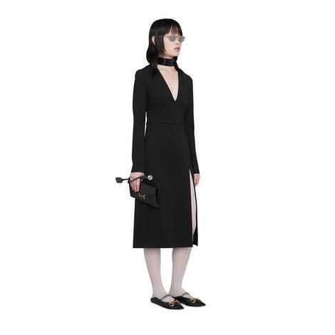 可拆卸衣领人造丝V领连衣裙