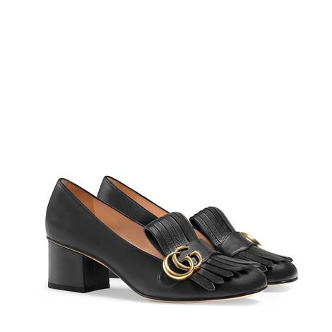 GG Marmont系列皮革中跟鞋