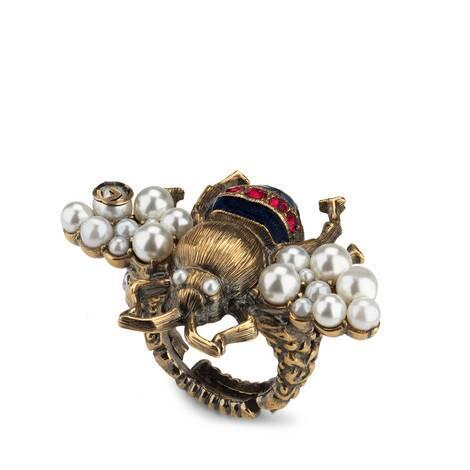 饰水晶珍珠蜜蜂造型戒指