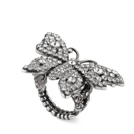 饰水晶蝴蝶金属戒指
