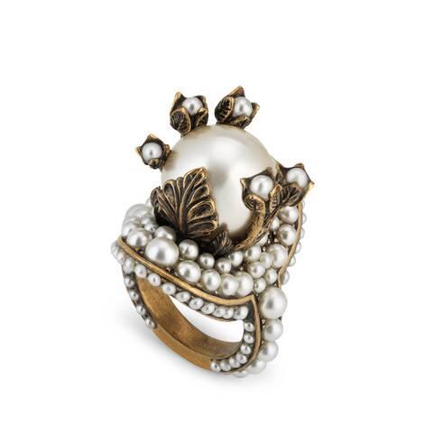 玻璃珍珠装饰花朵戒指