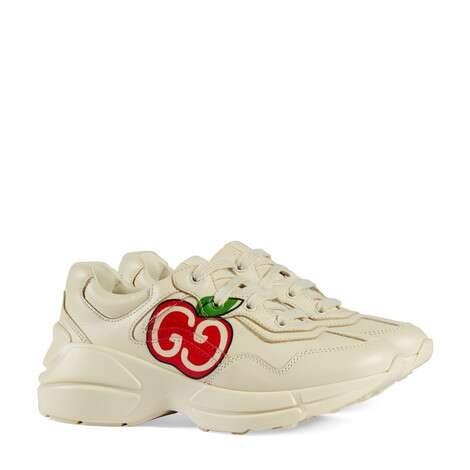 Rhyton系列儿童GG苹果印花运动鞋