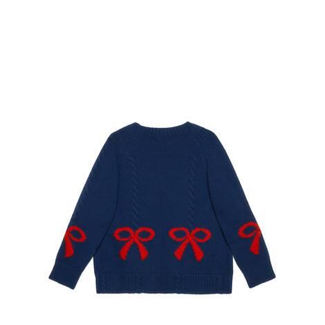 儿童羊毛蝴蝶结提花卫衣