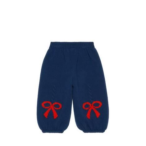 儿童羊毛蝴蝶结提花长裤