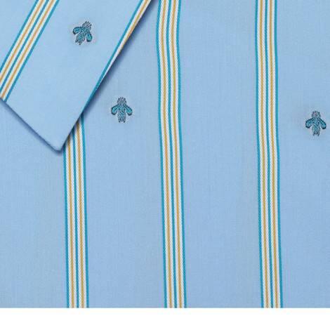 饰蜜蜂条纹图案切丝棉衬衫