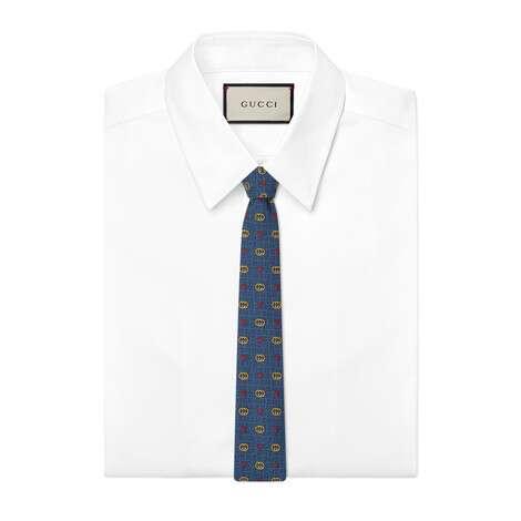 互扣式双G和心形羊毛真丝领带