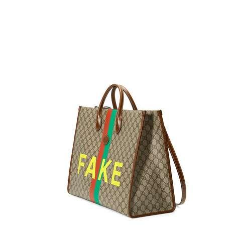 """""""Fake/Not""""印花大号托特包"""