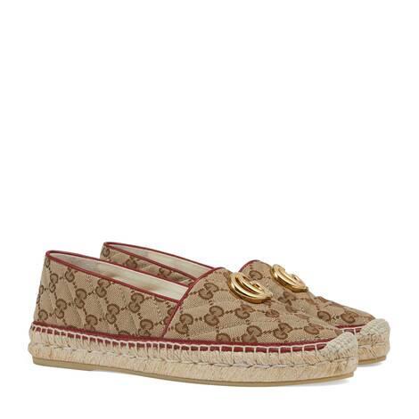 女士GG绗缝帆布草编鞋