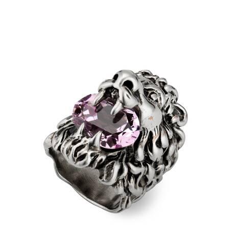饰紫色水晶狮头戒指