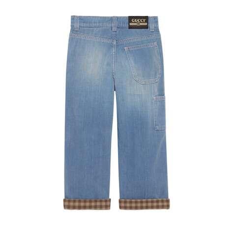 儿童法兰绒衬里牛仔裤