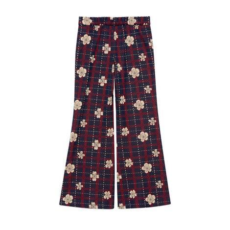 儿童花朵格纹棉质长裤