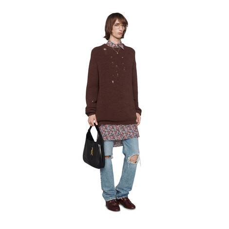 罗纹针织羊毛超大造型毛衣