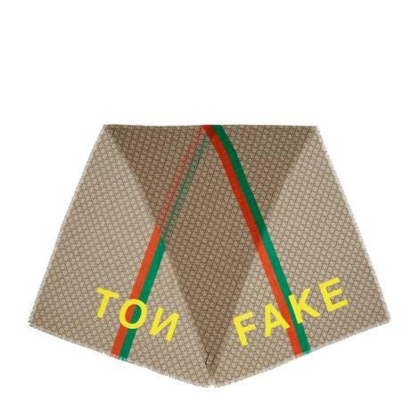 """""""Fake/Not""""印花GG羊毛围巾"""