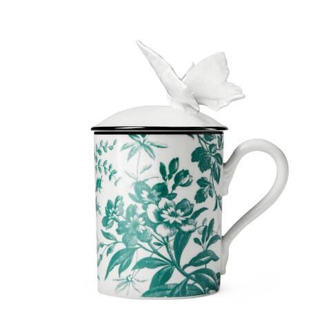 饰腊叶印花和蝴蝶马克杯