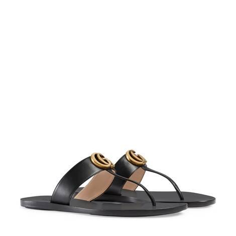 雙G造型皮革夾趾涼鞋