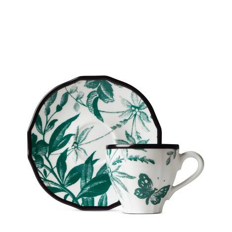 腊叶印花咖啡杯和咖啡碟(双套组)