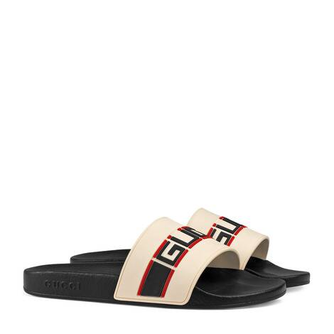 Gucci条纹橡胶拖鞋