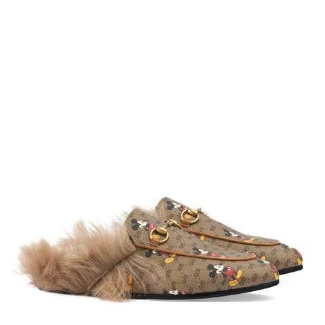 Disney x Gucci Princetown系列女士GG拖鞋