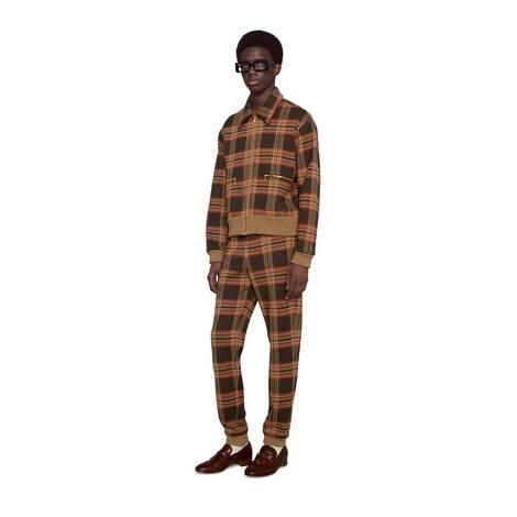 格纹羊毛慢跑长裤