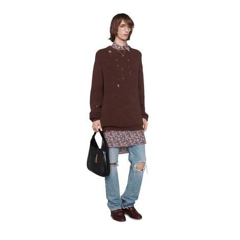 Gucci Liberty花卉印花羊毛超大造型衬衫