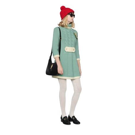 饰花卉胸针短款羊毛连衣裙