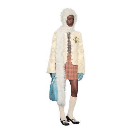 短款格纹棉毛混纺衬衫