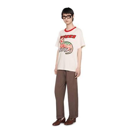 Gucci小猫印花超大造型T恤