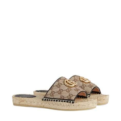 女士GG絎縫帆布草編涼鞋
