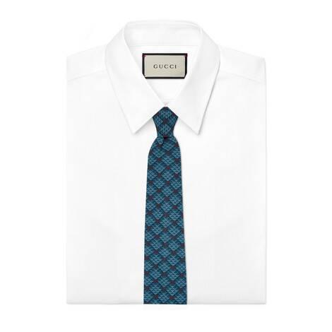 GG菱形印花人造丝领带