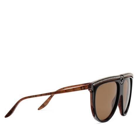 饰水晶醋纤飞行员太阳眼镜