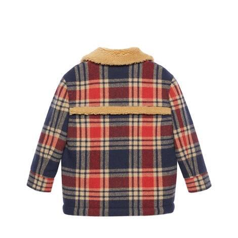 儿童格纹羊毛夹克