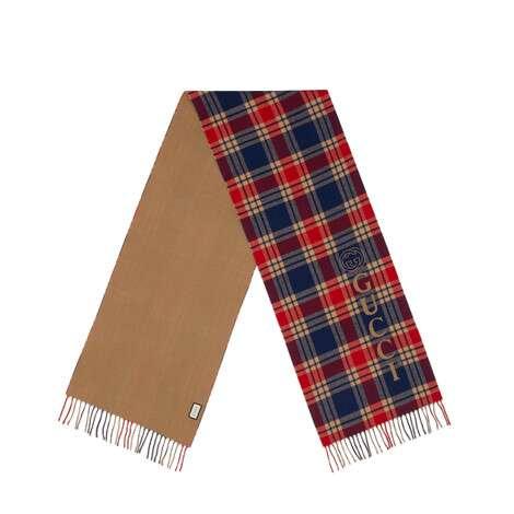 Gucci复古标识羊毛格纹围巾