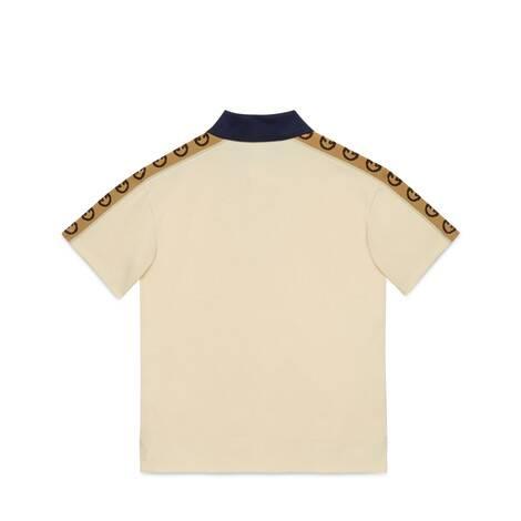 儿童互扣式双G条纹棉质Polo衫