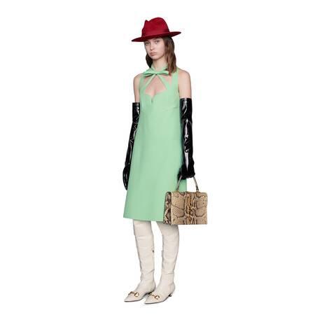 羊毛真丝混纺心形领连衣裙