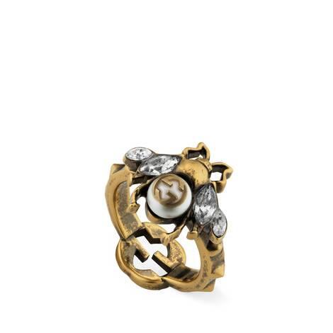 互扣式双G蜜蜂戒指