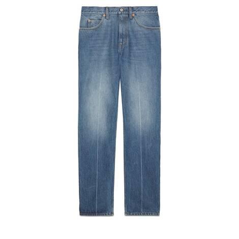 大理石纹水洗常规版型牛仔裤