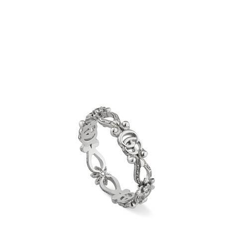 Gucci花卉造型18K白金钻石戒指