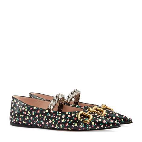 女士Gucci Liberty花卉印花平底芭蕾舞鞋
