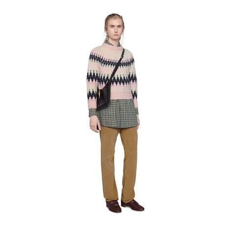 Z字型提花羊毛短款毛衣