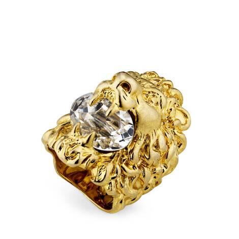 饰水晶狮头戒指