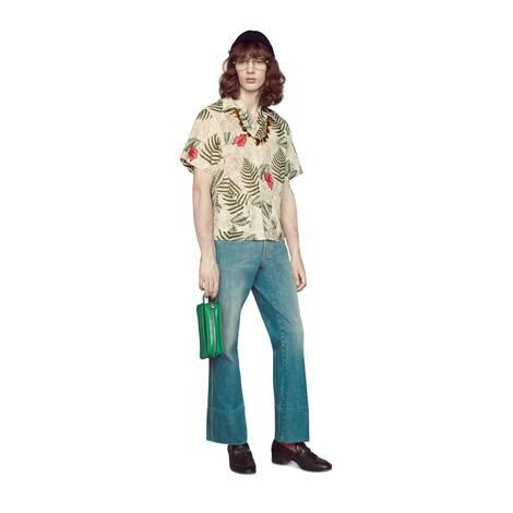 大理石纹石磨漂白牛仔裤