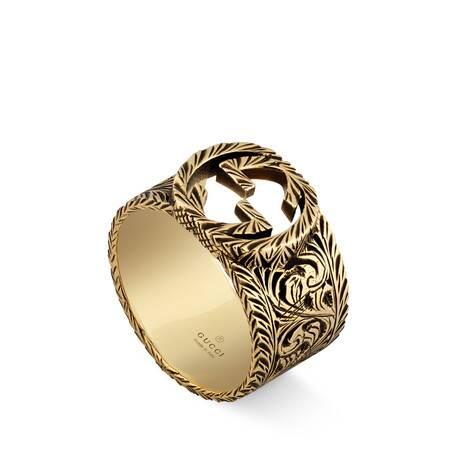 互扣式双G黄金戒指