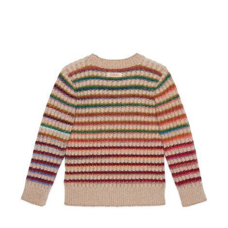 儿童饰Gucci标签条纹毛衣
