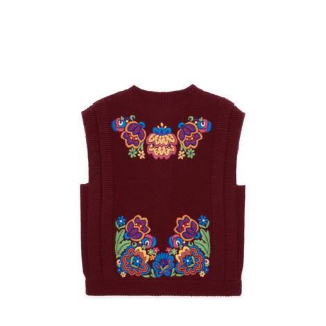 兒童花卉刺繡羊毛馬甲